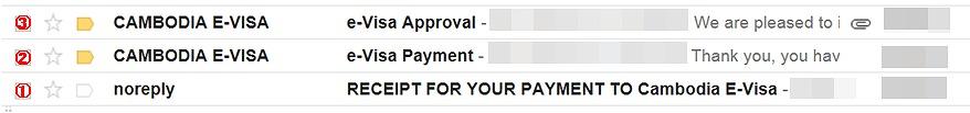 カンボジアのEビザ申請時に送られてくるメール